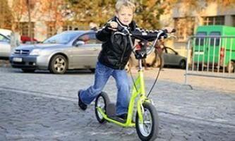 Детский самокат с большими надувными колесами 200 мм