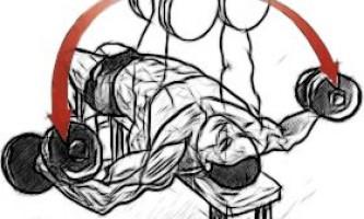 Разведение гантелей на скамье с наклоном вниз